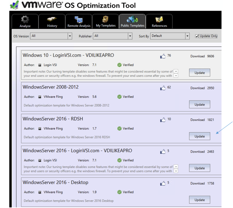 VMware Horizon – Setup Server 2016 RDS Template – Optimize